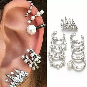 9PC Sexy⭐⭐⭐ Silver and Pearl Earring Cuff Set
